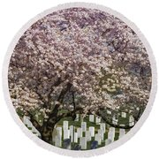 Cherry Blossoms Grace Arlington National Cemetery Round Beach Towel