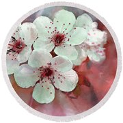Apple Blossoms In Soft Pink - Digital Paint Round Beach Towel
