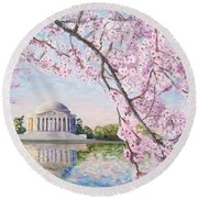 Jefferson Memorial Cherry Blossoms Round Beach Towel
