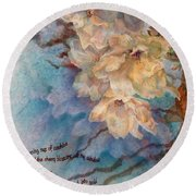 Cherry Blossoms N Lace Round Beach Towel