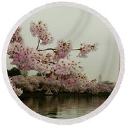 Cherry Blossoms On A Foggy Morning Round Beach Towel