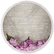 Cherry Blossoms On Linen  Round Beach Towel