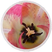 Cherry Pink Swirl Round Beach Towel