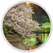 Cherry Blossom Temple Boat Round Beach Towel