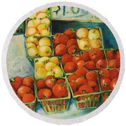 Cherry Tomatoes Round Beach Towel by Jen Norton