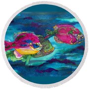 Cherry Toppers Round Beach Towel by Kathy Braud