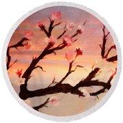 Cherry Tree Expresssive Brushstrokes Round Beach Towel