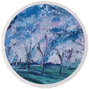 Cherry Trees Impressionism Round Beach Towel