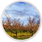 Cherry Trees With Blue Sky Round Beach Towel