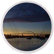 Chesapeake City Twilight Round Beach Towel