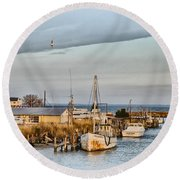 Chesapeake Fishing Boats Round Beach Towel