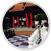 Chess In China Town Round Beach Towel