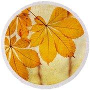 Chestnut Leaves At Autumn Round Beach Towel
