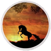 Chestnut Sunset Round Beach Towel