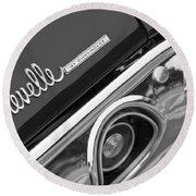 Chevrolet Chevelle Ss Taillight Emblem Round Beach Towel by Jill Reger
