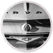 Chevrolet Corvair Emblem -0082bw Round Beach Towel