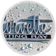 1966 Chevrolet Corvette Sting Ray Emblem -0052c Round Beach Towel