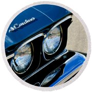 Chevrolet El Camino Hood Emblem - Head Lights Round Beach Towel