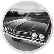 Chevrolet El Camino In Black And White Round Beach Towel