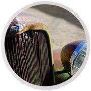 Chevrolet Grille Emblem - Head Light Round Beach Towel
