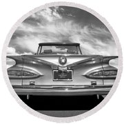 Chevrolet Impala 1959 In Black And White Round Beach Towel