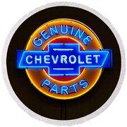Chevrolet Neon Sign Round Beach Towel