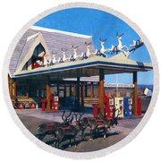 Chevron Gas Station At Santa's Village With Reindeer And Carl Hansen Round Beach Towel