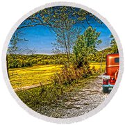 Chevy 34 Sweet Country Road Round Beach Towel
