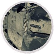 Arroyo Seco Chevy In Silver Round Beach Towel