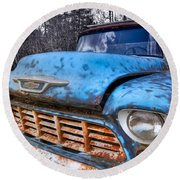 Chevy In The Woods Round Beach Towel by Debra and Dave Vanderlaan