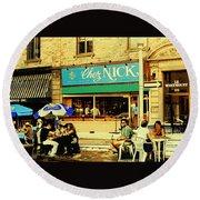 Chez Nick On Greene Avenue Montreal In Summer Cafe Art Westmount Terrace Bistros And Umbrellas Round Beach Towel