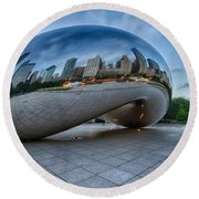 Chicago - Cloudgate Reflections Round Beach Towel