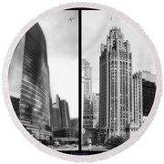 Chicago 333 And The Tower 2 Panel Bw Round Beach Towel