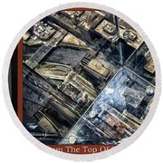Chicago A View From The Top Of Sears Willis Tower Hdr Triptych 3 Panel Round Beach Towel
