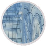 Chicago Abstract Before And After Blue Glass 2 Panel Round Beach Towel