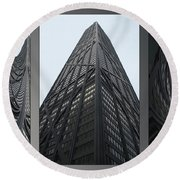 Chicago Abstract Before And After John Hancock Sw Facades Triptych 3 Panel Round Beach Towel