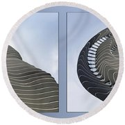 Chicago Abstract Before And After Radisson Blu Hotel 2 Panel Round Beach Towel
