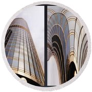 Chicago Abstract Before And After Sunrays On Trump Tower 2 Panel Round Beach Towel