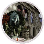 Chicago Art Institute Guardian Round Beach Towel by Sebastian Musial