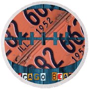 Chicago Bears Football Recycled License Plate Art Round Beach Towel