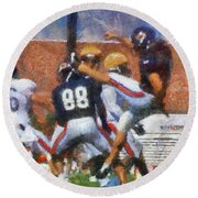 Chicago Bears P Patrick O'donnell Training Camp 2014 Photo Art 02 Round Beach Towel