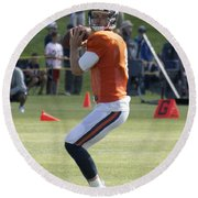Chicago Bears Qb Jimmy Clausen Training Camp 2014 03 Round Beach Towel