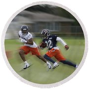 Chicago Bears Rb Michael Ford Moving The Ball Training Camp 2014 Round Beach Towel