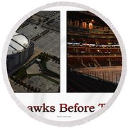Chicago Blackhawks Before The Gates Open Interior 2 Panel White 01 Round Beach Towel