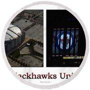 Chicago Blackhawks United Center 2 Panel White Signage Round Beach Towel