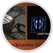 Chicago Blackhawks United Center Signage 2 Panel Tan Round Beach Towel
