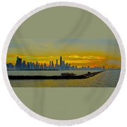 Chicago Breakwater Round Beach Towel