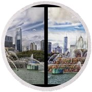 Chicago Buckingham Fountain 2 Panel Looking West And North Black Round Beach Towel