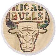 Chicago Bulls Logo Vintage Round Beach Towel
