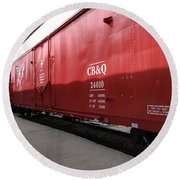 Chicago Burlington Quincy Freight Cars Round Beach Towel